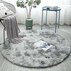 Hochflor Teppich Rund Zimmerteppich Wohnzimmer Shaggy Matte Teppichboden Fluffy, Hellgrau,120cm