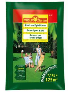 Wolf Garten Rasensamen / Saatgut für Sport-Spiel Rasen LG125 für 125m²