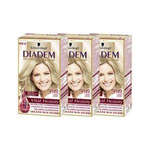 3x Schwarzkopf Diadem Seiden-Color-Creme, V120 Beige Blond