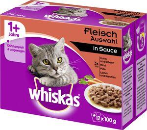 Whiskas 1+ Fleisch Auswahl in Sauce (12 x 100 g)
