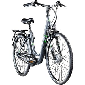 Zündapp Green 3.7 28 Zoll E-Bike E Cityrad Damenrad Pedelec Elektrofahrrad Damen Fahrrad 700c, Farbe:anthrazit, Rahmengröße:48 cm