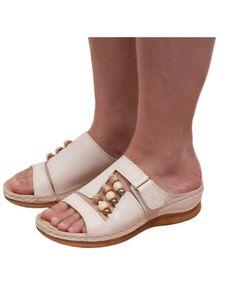 Abtel Damen Sandalen Wedge High Heels Hausschuhe,Farbe:Weiß,Größe:38