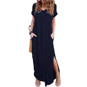 Damen Loose Summer Beach Gallus Kurzarm bodenlanges langes Kleid Größe:XL,Farbe:Dunkelblau