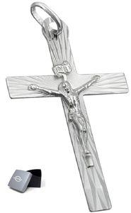 Kettenanhänger Unisex Anhänger Kreuz mit Jesus glänzend 925 Silber 34 x 21 mm inkl. kleiner Schmuckbox