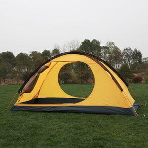 Abtel Campingzelte Einzelnes Campingzelt wasserdichte ultraleichte Doppelschicht,Gelb