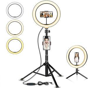 """REI LED Ringlicht Stativ mit Fernbedienung, 10.2"""" Selfie Ringleuchte Doppel-Handyhalter mit 3 Farbe und 11 Helligkeitsstufen für YouTube TikTok Self-Porträt der Videoaufnahme"""