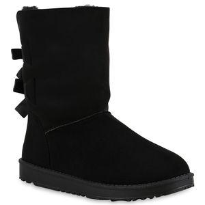 Mytrendshoe Warm Gefütterte Damen Schlupfstiefel Schleifen Stiefel Bequem 813084, Farbe: Schwarz, Größe: 38