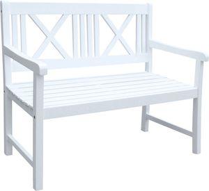 Garden Pleasure 965019 Gartenbank 'Malmö' 2-Sitzer  B 120 x T 58 x H 89 cm, Bank aus weiß lackiertem Akazien-Holz