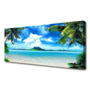 Tulup Leinwand-Bilder 125x50 Wandbild Canvas Kunstdruck Palmen Meer Landschaft