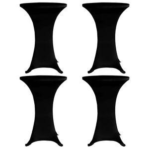 Stehtischhussen Tisch-Überzug Hussen 4 Stk. Ø 70 cm Schwarz Stretch