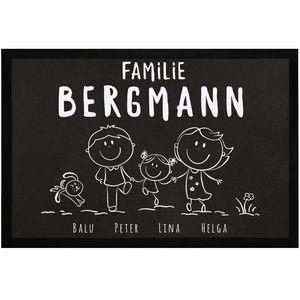 Fußmatte Familie personalisiert mit Namen 1, 2, 3 & mehr Kinder Hund Katze Strichmännchen SpecialMe® weiß 60x40cm