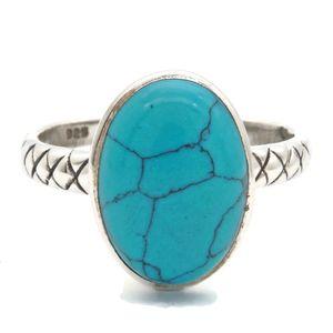 Türkis Ring 925 Silber Sterlingsilber Damenring blau grün (MRI 161-15),  Ringgröße:58 mm / Ø 18.5 mm