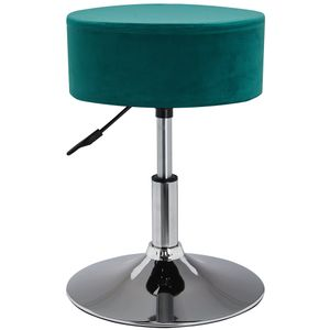 Duhome Drehhocker aus Stoff Samt in petrol blau grün Sitzhocker Hocker