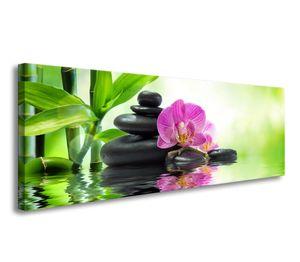 120 x 40 cm Bild auf Leinwand Spa grün 5721-SCT deutsche Marke und Lager  -  Die Bilder / das Wandbild / der Kunstdruck ist fertig gerahmt