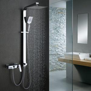 Trennbar Duschsystem mit Messing Duschpaneel Duscharmatur Regendusche mit Armatur Wasserhahn 3 Funktion Wasserablauf Duschset Rainshower Dusche für Bad/Badewanne, Homelody