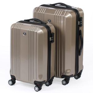 FERGÉ 2er Kofferset Handgepäck + 24' CANNES ABS & PC champagner glänzend Trolley-Hartschalenkoffer Set 4 Rollen Kofferset 2-teilig Hartschale 55 cm