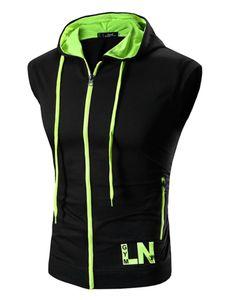 Herren Hooded Zip Vest Kurzarm Top Fashion Hoodie,Farbe: Schwarzgrün,Größe:L