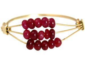 Damen Ring Vergoldet Rubin Rot Ringgröße:52 (16.6)