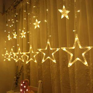 Lichterkette, Sternen Lichtervorhang, Led Vorhang Lichter Sternenvorhang, mit 8 Lichtermodi als Weihnachten oder Party Festen Deko Lichterkette für Innen & Außen (Warmweiß)