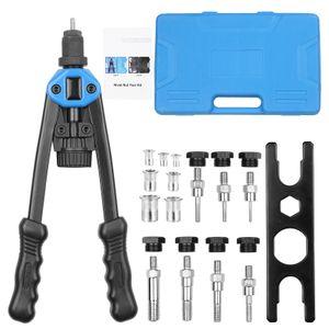 110 Stueck Handnietmutter Werkzeug Nietwerkzeugsatz Nietmutter Setter Kit mit 100 Stueck verschiedenen Nietmuttern 7 metrische Dorne aus M3 / M4 / M5 / M6 / M8 / M10 / M12 und geformtem Tragetasche