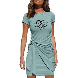 Damen Casual Print Rundhals charmant Schleife Kurzarm Paket Hüftkleid Größe:S,Farbe:Blau