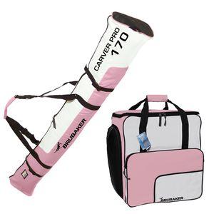BRUBAKER Kombi Set - Skisack 170 cm und Skischuhtasche für 1 Paar Ski + Stöcke + Schuhe + Helm Rosa Weiß