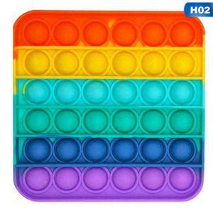Sensory Fidget Toy in Regenbogenfarben, Push Pop Pop Bubble Toys Push Bubble Sensory Toy Stressabbau Sensory Toys Lernspielzeug für Kinder  Quadrat