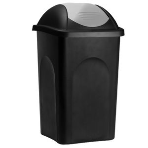 Stefanplast Mülleimer mit Schwingdeckel 60L Versch. Farben Abfallbehälter 68x41x41cm Papierkorb Müllsystemtrennung Küche, Farbe:schwarz/silber
