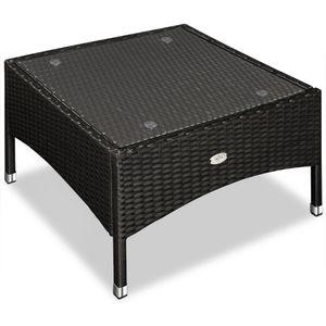 Polyrattan Gartentisch Beistelltisch mit Glasplatte 50 x 50 x 42 cm, FarbeSchwarz