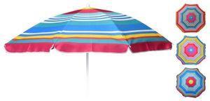 Sonnenschirm Strandschirm Strand Balkonschirm Schirm Ø 140 cm bunt gestreift