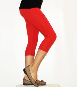 Kinder Mädchen Hose Leggings Leggins Capri 3/4 kurz Knie blickdicht Baumwolle Rot 146