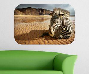 Zebra Wandbild Afrika Wandaufkleber Tier Wandsticker selbstklebendes Wandtattoo Wohnzimmer Aufkleber 11B011, Wandbild Größe B:144x96cm