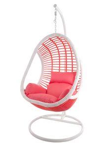 KIDEO® CANDY Hängesessel inklusive Gestell und Kissen, Polyrattan coral-pink (Skyline / Kissen coral-pink)