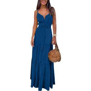 Lässiges Sommerkleid Für Damen Ärmelloser Langer Rock Mit V-Ausschnitt Knopf,Farbe: Blau,Größe:L
