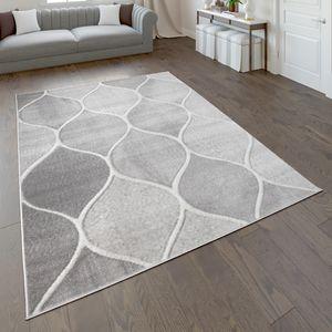 Teppich, Kurzflor-Teppich Für Wohnzimmer Mit Orient-Design, Einfarbig In Grau, Grösse:120x170 cm