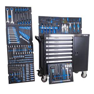 DeTec. 1077 Heavy Duty XXL Werkstattwagen bestückt 7/7 Schubladen gefüllt mit Werkzeug Carbon Einleger in blau (Werkzeug