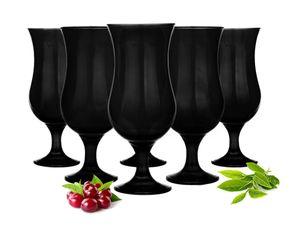 6 Schwarze Cocktailgläser 480ml Hurricane Cocktailglas Longdrinkgläser Gläser