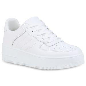 Mytrendshoe Damen Plateau Sneaker Cut Out Vintage Freizeitschuhe Schnürer 833974, Farbe: Weiß, Größe: 40