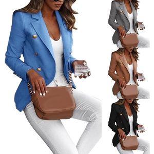 Herbst einfarbig Revers Langarm Business Frauen Blazer Mantel Anzug Jacke-Blau / Größe:S