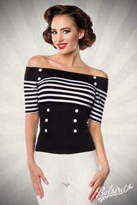 Jersey-Bluse mit dekorativen Stoffknöpfen, Farbe: Schwarz/Streifen, Größe: XL