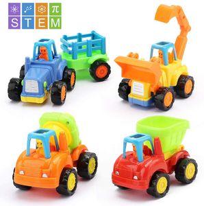 Push and Go Spielzeugautos für Kinder, 4er LKWs Baufahrzeug Set Fahrzeug Spielen Spielzeug Autos für 1 2 3 Jahre alte Kleinkinder Jungen und Mädchen