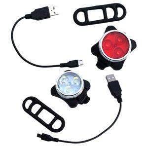 Fahrradlicht Set Wasserdicht USB Wiederaufladbar Fahrrad Vorder- und Rueckleuchten Fahrradscheinwerfer Ruecklicht