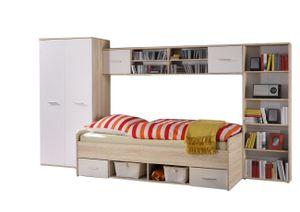 Jugendzimmer Numa 4-teilig weiß / Eiche Sonoma mit Bett + 2 Regale + Kleiderschrank Jugendbett Kinderzimmer