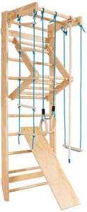 COSTWAY Sprossenwand Holz, Turnwand 100KG belastbar, Kletterwand inkl. Montagematerial, Heimsportgeraet Klettergerüst 80x60x220cm