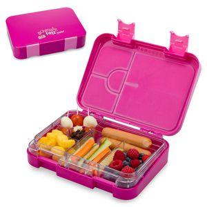 Klarstein schmatzfatz junior Lunchbox Brotdose Vesperbox | mit Zusatzbehälter, kinderfreundlich, abgedichtet, 4 oder 6 kleine Fächer, für Flüssignahrung, 21,3 x 15 x 4,5 cm (BxHxT), spülmaschinenfest, BPA-frei, Kunststoff, lila