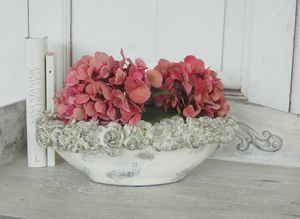 Schale, Vase BLÜTE, Übertopf in Betonoptik, antique Chic Shabby Landhaus