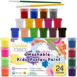 Creative Deco Kinder-Farbe Fingerfarbe Bastel-Farbe Plakat-farbe Set   20 ml x 24 Mehrfarbige Becher   Grund, Leuchtstoff, Glitzer, Metallic & Neonfarben   Perfekt für Anfänger Studenten Künstler
