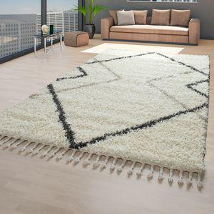 Shaggy Teppich Beige Wohnzimmer Hochflor Weich Skandinavisch Fransen Rauten, Größe:140x200 cm