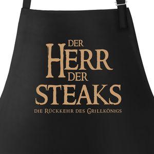 Grill-Schürze für Männer mit Spruch Der Herr der Steaks die Rückkehr des Grillkönigs Moonworks® schwarz unisize