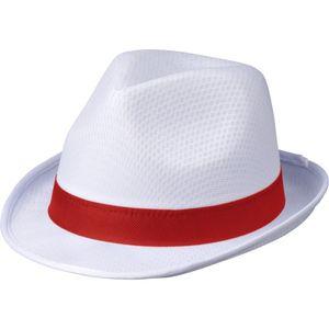 Bullet - Herren/Damen Uni Fedora-Hut - Polyester, Polypropylen PF3414 (Einheitsgröße) (Weiß/Rot)